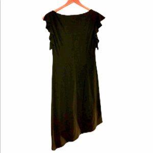 MAGGY LONDON BLACK RUFFLE SLEEVE ASSYM DRESS SZ 6